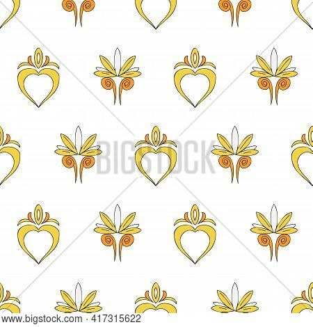 Vector Background Brittany Celtic, Breton Trational Folklore Symbols Seamless Pattern. Seamless Patt