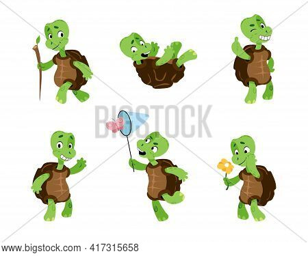 Turtle. Cartoon Tortoise Mascot. Green Comic Reptiles With Carapaces. Animals Activities Or Emotions