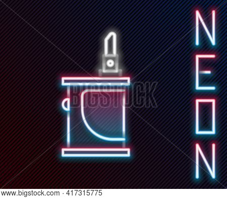 Glowing Neon Line Electronic Cigarette Icon Isolated On Black Background. Vape Smoking Tool. Vaporiz
