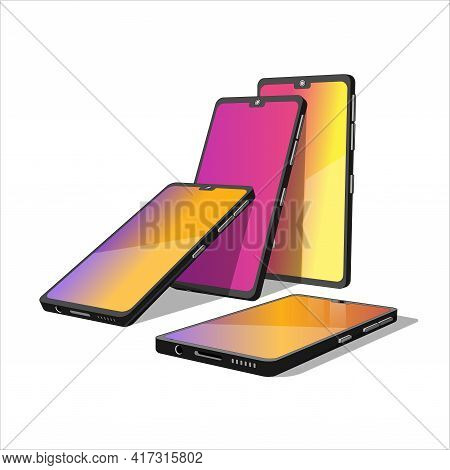 Group Of 3D Models Cell Phones. Smartphones In Different Shapes. 3D Models Elements For Your Design