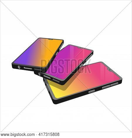 Group Of 3D Models Cell Phones. Smartphones In Different Shapes And Forms. 3D Models Elements For Yo