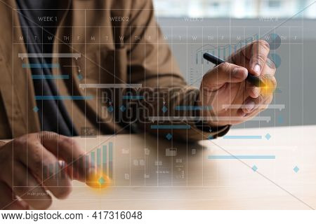Businessman Working Project And Update Gantt Software Chart Scheduling Virtual Diagram And Progress