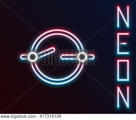 Glowing Neon Line Electric Circuit Scheme Icon Isolated On Black Background. Circuit Board. Colorful