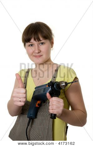 Young Woman And Drill