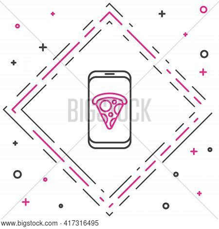 Line Food Ordering Pizza Icon Isolated On White Background. Order By Mobile Phone. Restaurant Food D
