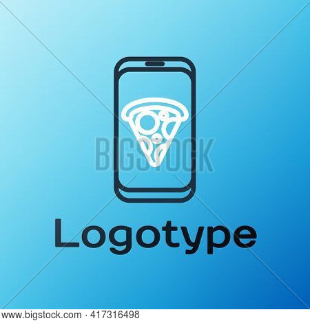 Line Food Ordering Pizza Icon Isolated On Blue Background. Order By Mobile Phone. Restaurant Food De