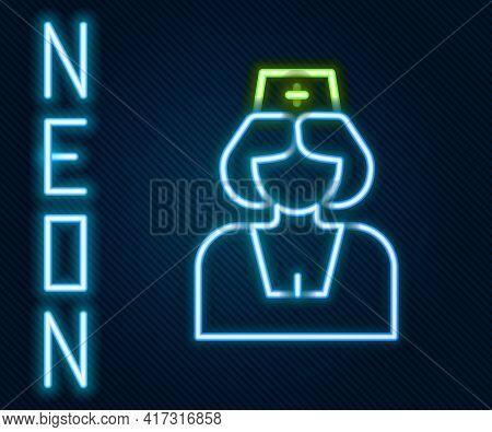 Glowing Neon Line Nurse Icon Isolated On Black Background. Medicine And Health Care. Happy Internati