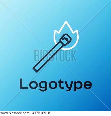Line Burning Match With Fire Icon Isolated On Blue Background. Match With Fire. Matches Sign. Colorf
