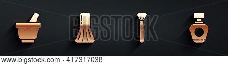 Set Mortar And Pestle, Makeup Brush, Makeup Brush And Perfume Icon With Long Shadow. Vector