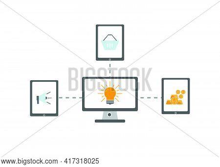 Flat Design Style E Shoping Idea Design Ilustration, Symbolize Financial Idea, Investment Idea. Perf