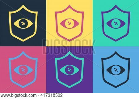 Pop Art Shield Eye Scan Icon Isolated On Color Background. Scanning Eye. Security Check Symbol. Cybe