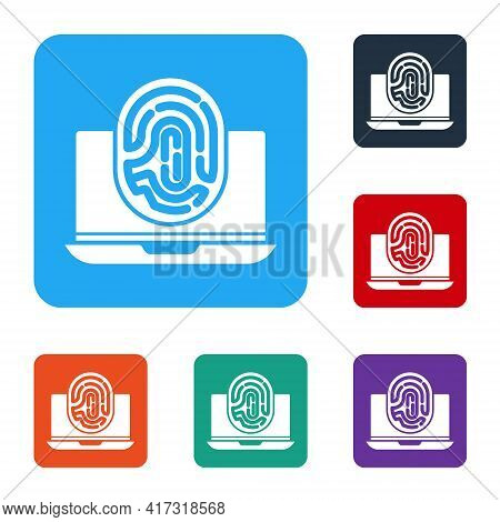 White Laptop With Fingerprint Icon Isolated On White Background. Id App Icon. Identification Sign. T