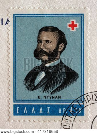 ZAGREB, CROATIA - SEPTEMBER 13, 2014: Stamp printed by Greece shows Jean Henri Dunant, International Red Cross series, circa 1963