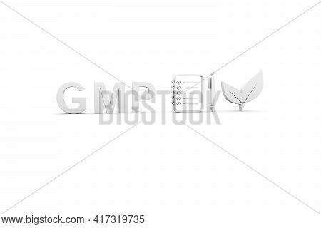 Gmp Concept White Background 3d Render Illustration