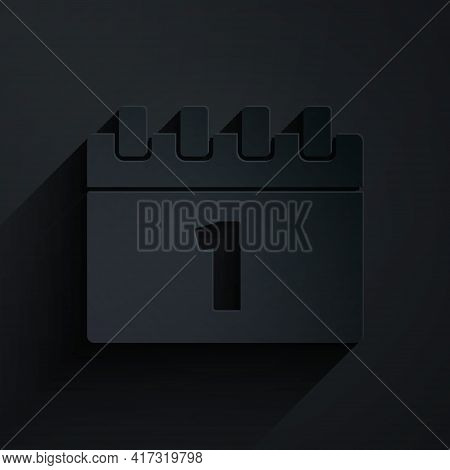 Paper Cut Calendar With First September Date Icon Isolated On Black Background. September 1. Date An