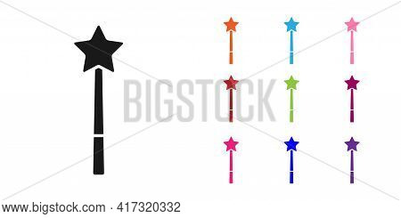 Black Magic Wand Icon Isolated On White Background. Star Shape Magic Accessory. Magical Power. Set I