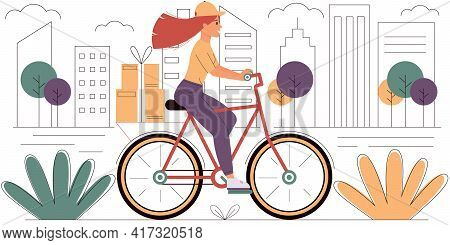 Courier Girl With Boxes Rides A Bicycle Around The City. Fast Delivery, Online Orders. Express Deliv