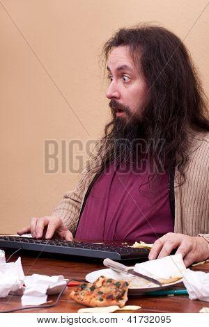 Unkempt Thick Nerd Sitting At A Desk