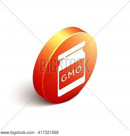 Isometric Gmo Icon Isolated On White Background. Genetically Modified Organism Acronym. Dna Food Mod