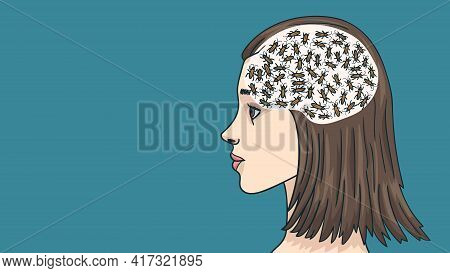 A Caricature Of Female Thinking And Female Logic. Cockroaches In The Girl S Brain.