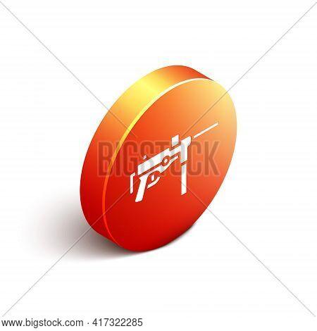 Isometric Submachine Gun M3, Grease Gun Icon Isolated On White Background. Orange Circle Button. Vec