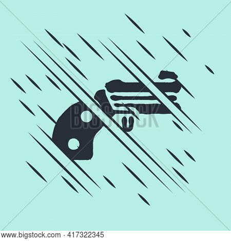 Black Small Gun Revolver Icon Isolated On Green Background. Pocket Pistol For Self-defense. Ladies R