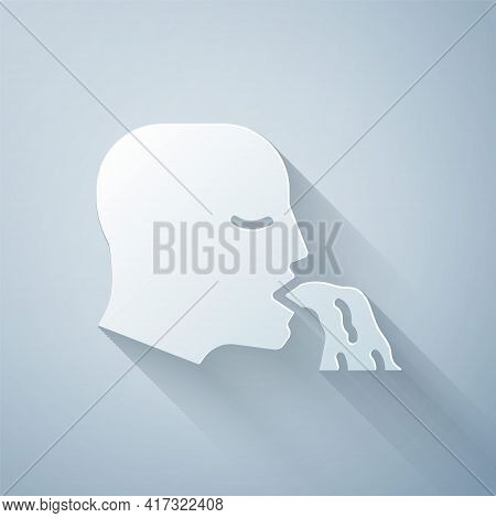 Paper Cut Vomiting Man Icon Isolated On Grey Background. Symptom Of Disease, Problem With Health. Na