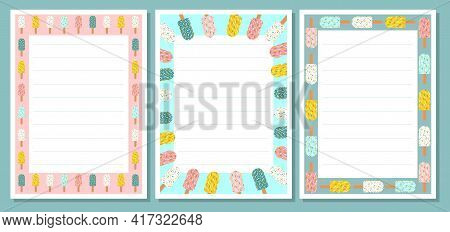 Ice Cream Summer Colorful Template For Cafe Menu, Flier Or Note