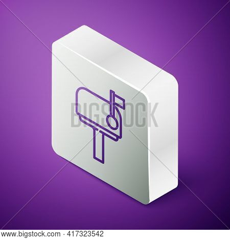 Isometric Line Mail Box Icon Isolated On Purple Background. Mailbox Icon. Mail Postbox On Pole With