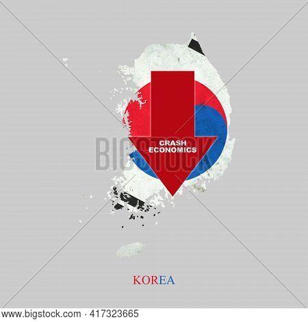 Crash Economics, Korea. Red Down Arrow On The Map Of Korea. Economic Decline. Downward Trends In The