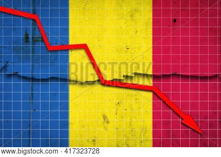 Fall Of The Romania Economy. Recession Graph With A Red Arrow On The Romania Flag. Economic Decline.