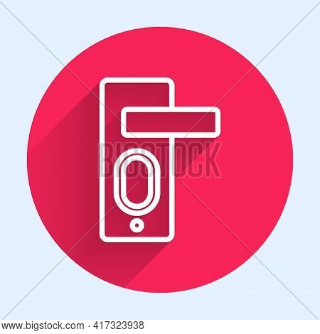 White Line Fingerprint Door Lock Icon Isolated With Long Shadow. Id App Icon. Identification Sign. T