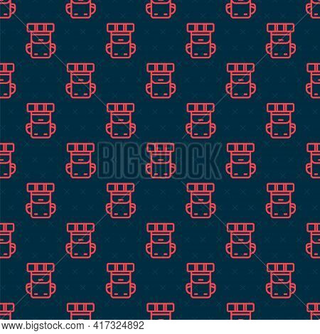 Red Line Hiking Backpack Icon Isolated Seamless Pattern On Black Background. Camping And Mountain Ex