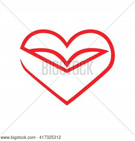 Book And Heart Symbol On White Backdrop. Loving Books Concept. Design Element