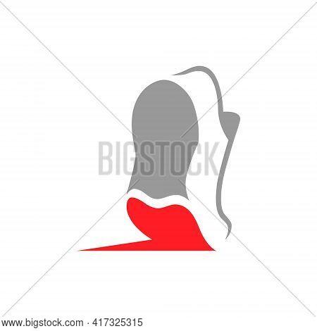 Running Shoe Heart Symbol On White Backdrop. Loving Sport Concept. Design Element