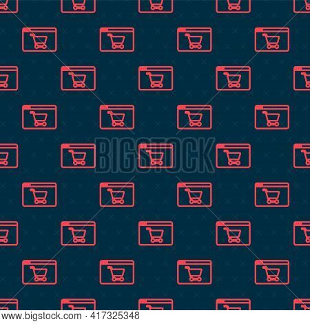 Red Line Online Shopping On Screen Icon Isolated Seamless Pattern On Black Background. Concept E-com
