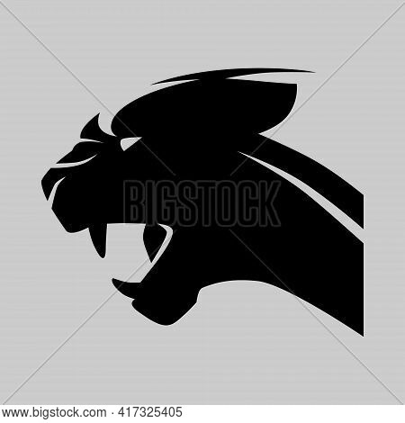 Angry Black Panther Portrait Side View Symbol On Gray Backdrop. Design Element