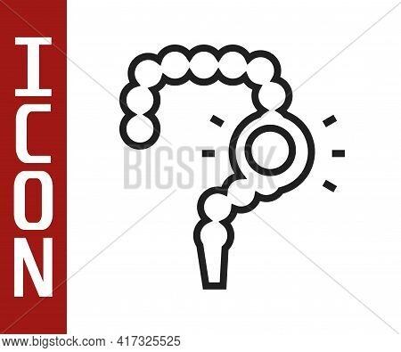 Black Line Gut Constipation Icon Isolated On White Background. Bowel Problems. Vector