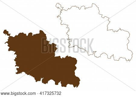 Oder-spree District (federal Republic Of Germany, Rural District, State Of Brandenburg) Map Vector I