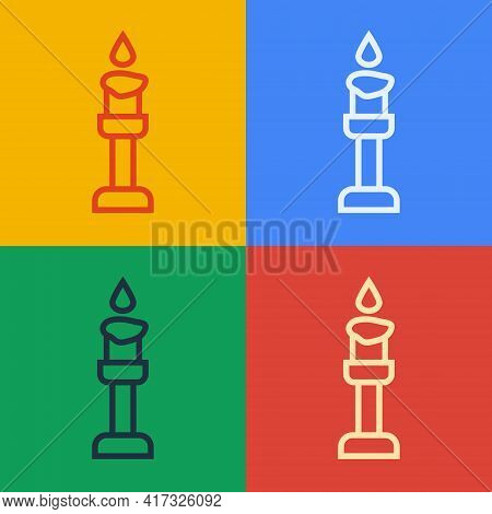 Pop Art Line Burning Candle Icon Isolated On Color Background. Cylindrical Aromatic Candle Stick Wit