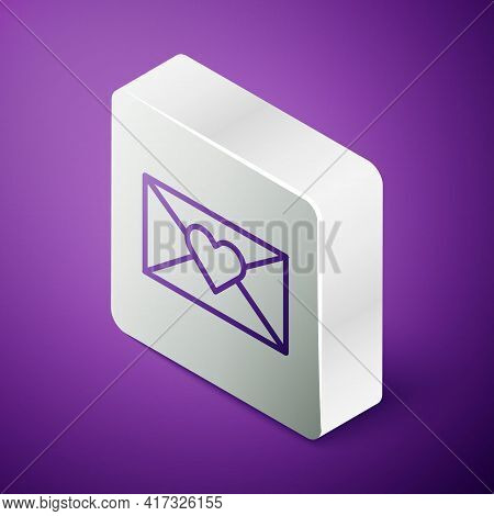 Isometric Line Envelope With Valentine Heart Icon Isolated On Purple Background. Message Love. Lette