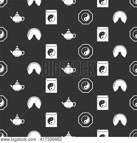 Set Yin Yang, Chinese Fortune Cookie, Chinese Tea Ceremony And Yin Yang And Envelope On Seamless Pat