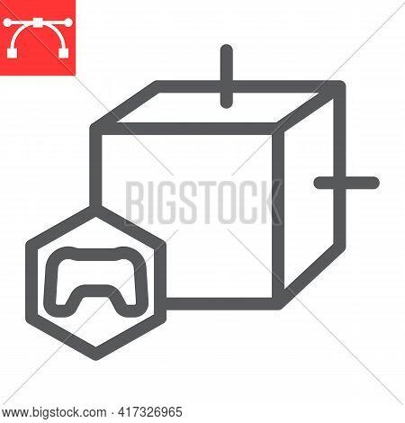 Gaming Nft Line Icon, Unique Token And Nft Blockchain, Non Fungible Token Vector Icon, Vector Graphi