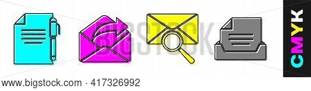 Set Document And Pen, Outgoing Mail, Envelope With Magnifying Glass And Drawer With Document Icon. V