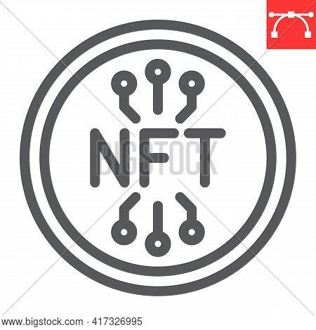 Nft Coin Line Icon, Unique Token And Blockchain, Non Fungible Token Vector Icon, Vector Graphics, Ed