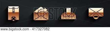 Set Delete Envelope, Outgoing Mail, Download Inbox And Delete Envelope Icon With Long Shadow. Vector
