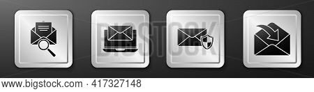 Set Envelope With Magnifying Glass, Laptop With Envelope, Envelope With Shield And Envelope Icon. Si