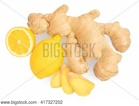 Ginger Root With Lemon Fruit. Fresh Ginger Rhizome With Slices  Isolated On White Background.  Top V