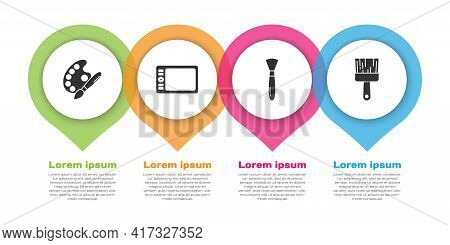 Set Paint Brush With Palette, Graphic Tablet, Paint Brush And Paint Brush. Business Infographic Temp