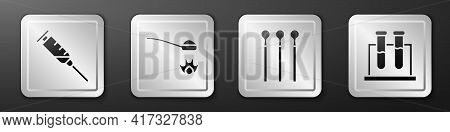 Set Syringe, Heroin In A Spoon, Matches And Test Tube And Flask Icon. Silver Square Button. Vector